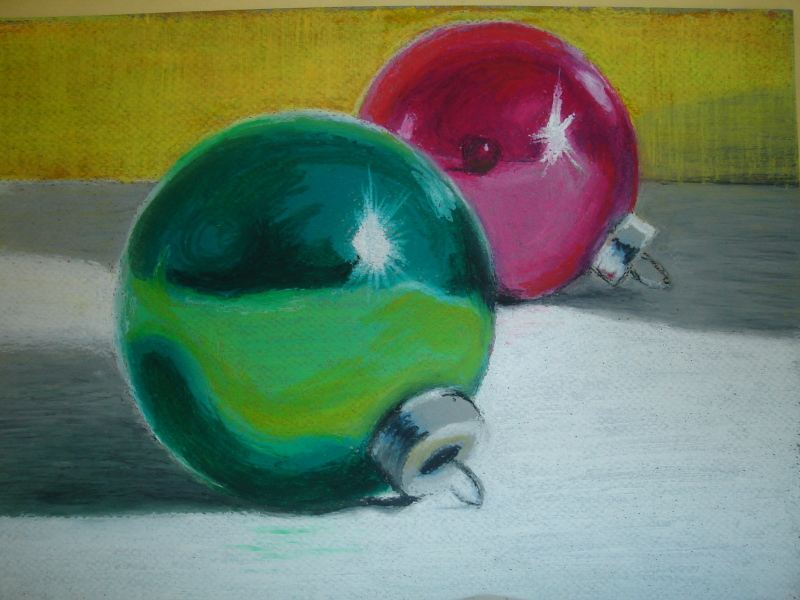 Oil Pastels Christmas Ornaments