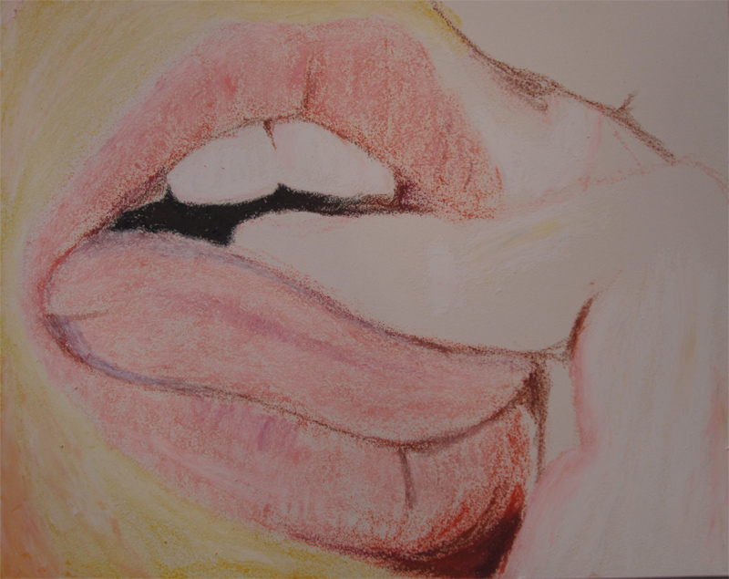 Oil Pastels Lips - Step One