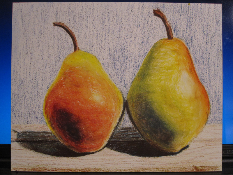 Pears in Oil Pastels - sketch 4