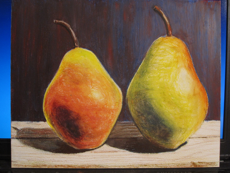 Pears in Oil Pastels - sketch 5
