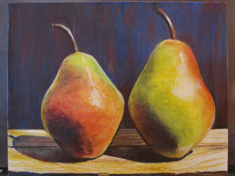 Pears in Oil Pastels - sketch 7